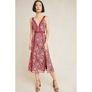 New Anthropologie Embroidered Lace Midi Dress
